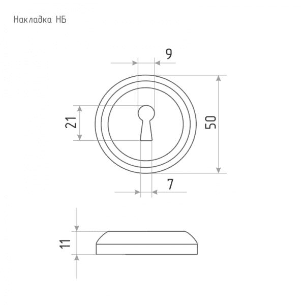 Дверная накладка модель НБ (К) (Застаренная бронза)