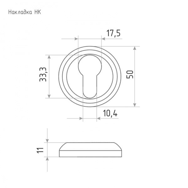 Дверная накладка модель НК (J) (Застаренная бронза)