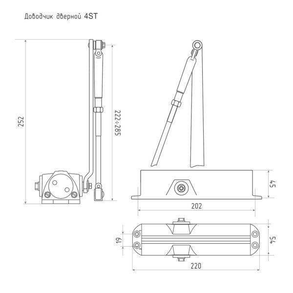 Дверной доводчик модель 4ST (Бронза)
