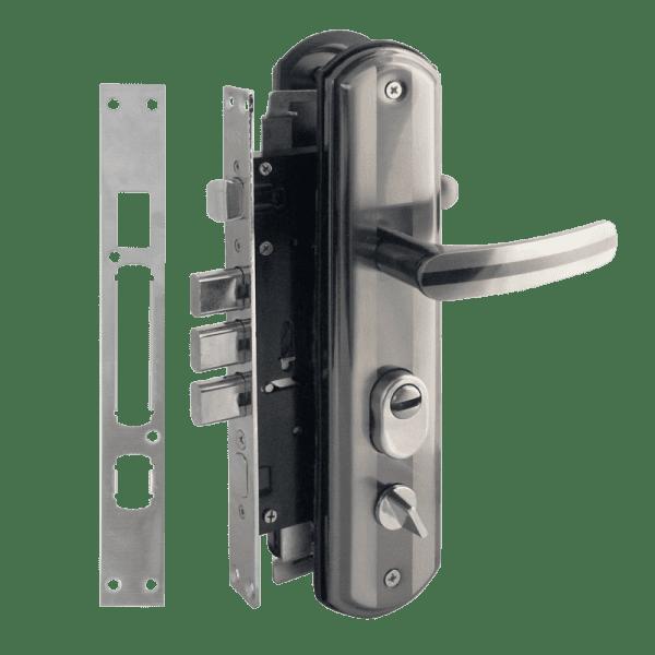 Комплект замка для китайских дверей модель 200-68 ECO левый (Матовый хром/черный никель)