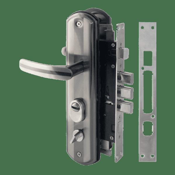 Комплект замка для китайских дверей модель 200-68 ECO правый (Матовый хром/черный никель)