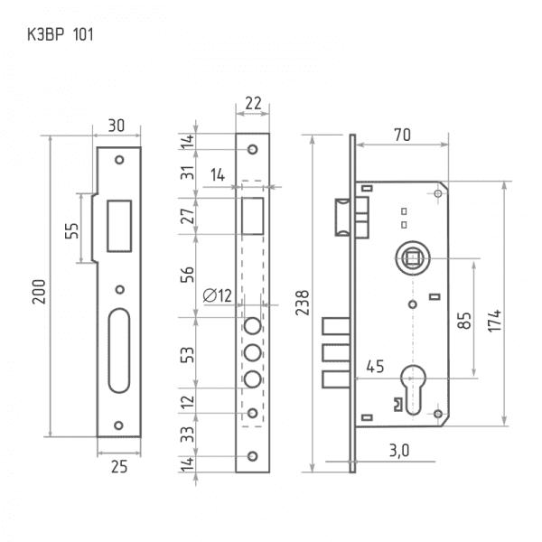 Корпус замка врезного модель КЗВР-101 (Хром)