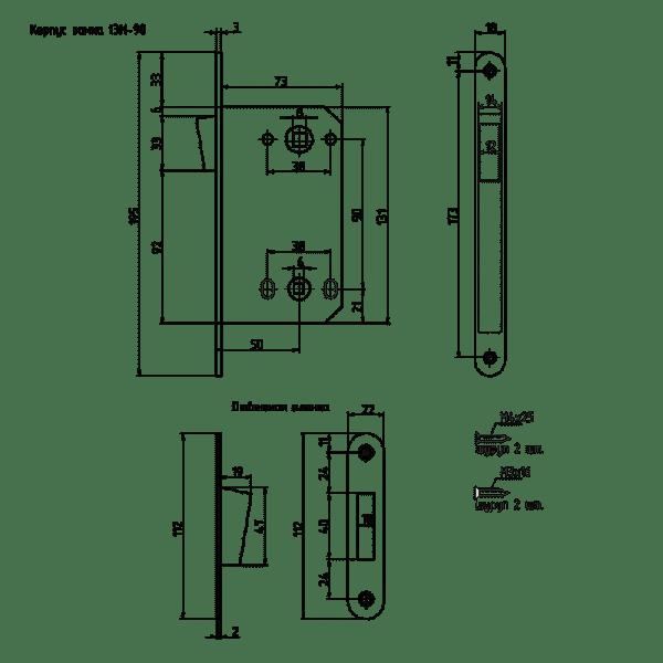 Корпус замка под фиксатор магнитный модель 13М-90 мм (Старая бронза)