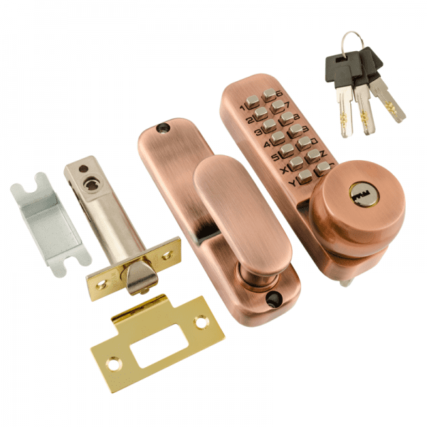 Кодовый замок c фиксатором и цилиндром модель 370 (Старая медь)