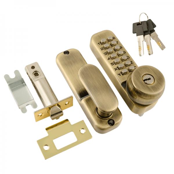 Кодовый замок c фиксатором и цилиндром модель 370 (Старая бронза)