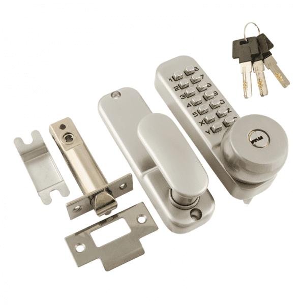 Кодовый замок c фиксатором и цилиндром модель 370 (Матовый хром)