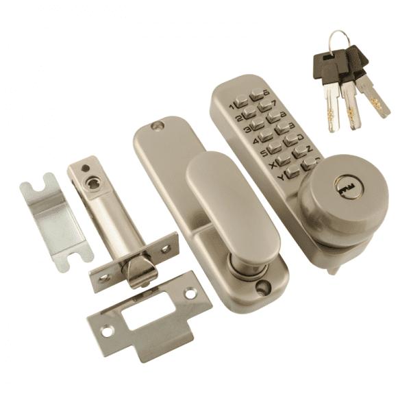 Кодовый замок c фиксатором и цилиндром модель 370 (Матовый никель)