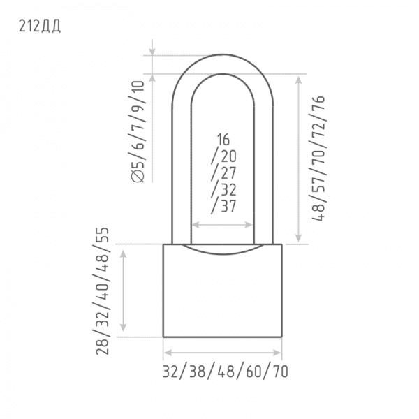 Замок навесной модель ЗН-212ДД (Хром) 32 мм