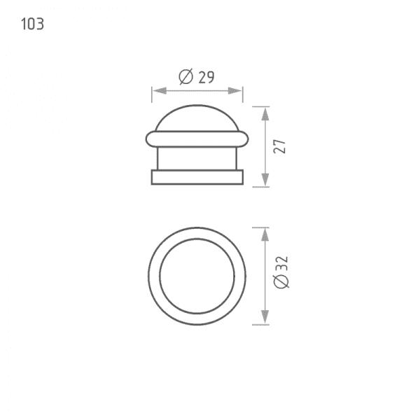 Ограничитель дверной модель 103 (Матовый никель)