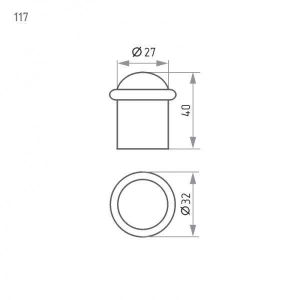 Ограничитель дверной модель 117 (Старая медь)