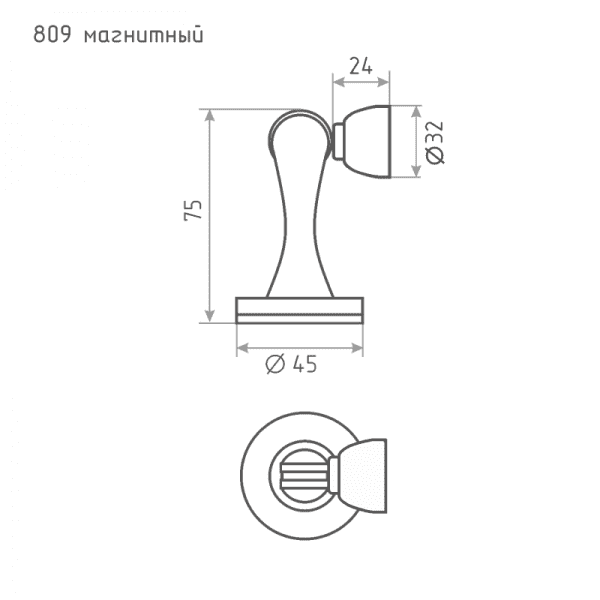 Ограничитель магнитный модель 809 (Старая медь)