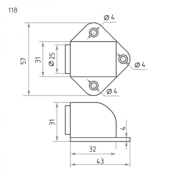 Ограничитель дверной модель 118 (Хром)