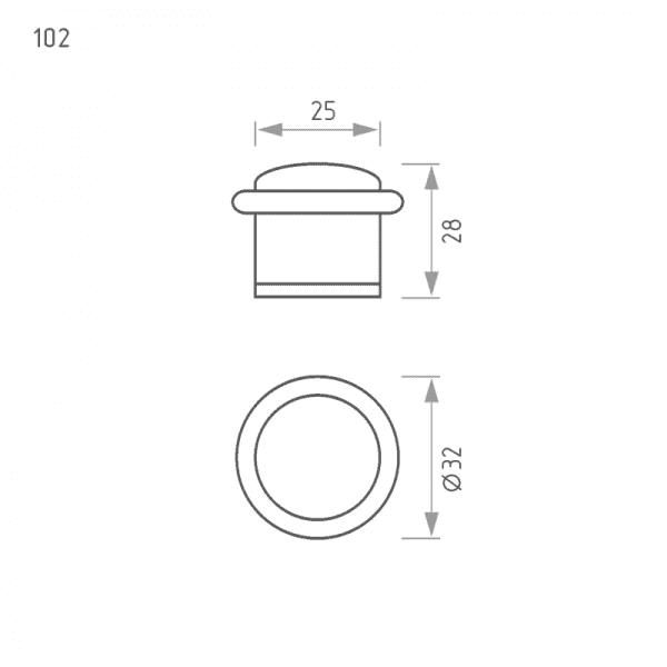 Ограничитель дверной модель 102 (Хром)