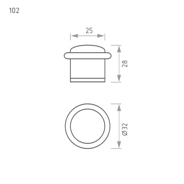 Ограничитель дверной модель 102 (Матовый никель)