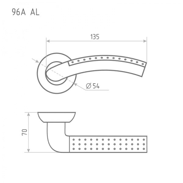 Ручка дверная модель 96 А AL (Матовый хром/хром)