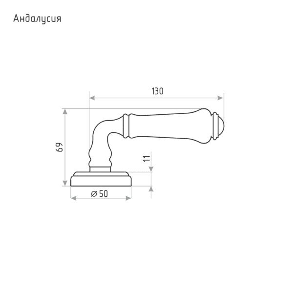Ручка дверная модель Андалусия (Серый фарфор/Застаренное серебро)