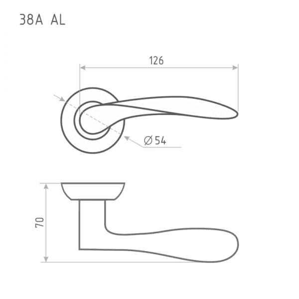 Ручка дверная модель 38 А AL (Матовое золото)