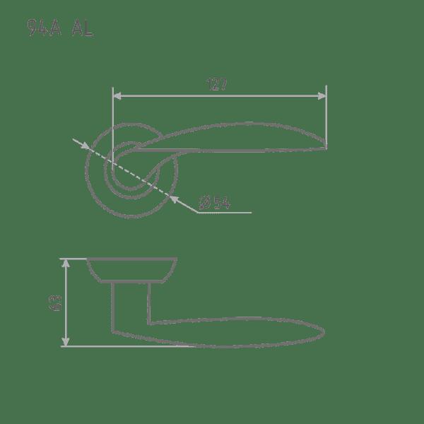 Ручка дверная модель 94 А AL (Хром)