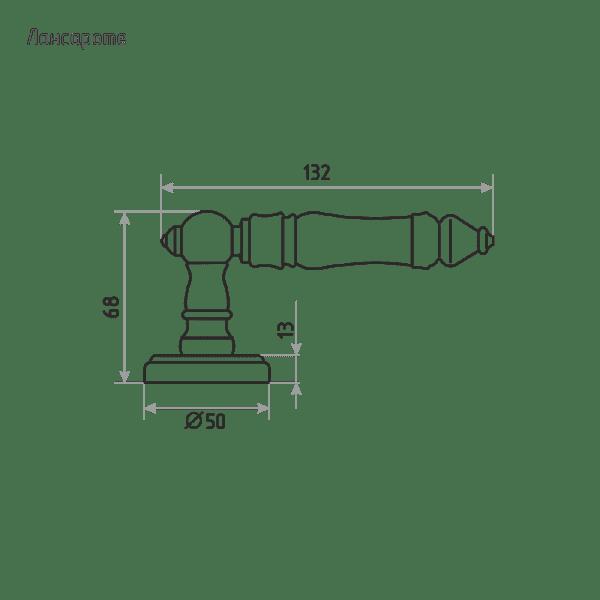 Ручка дверная модель Лансароте (Застаренная бронза)
