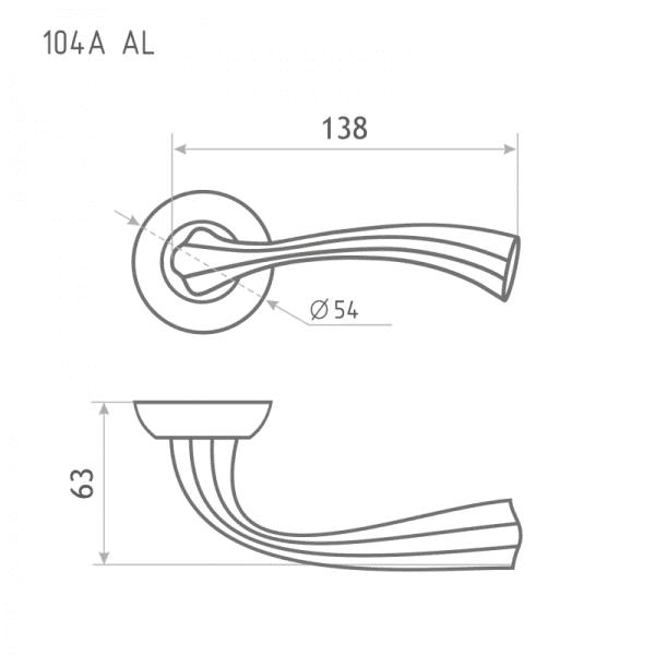 Ручка дверная модель 104 А AL (Золото)