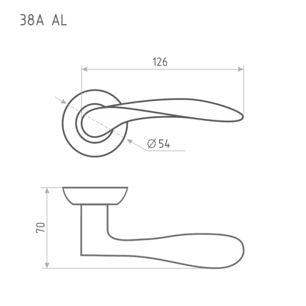 Ручка дверная модель 38 А AL (Золото)