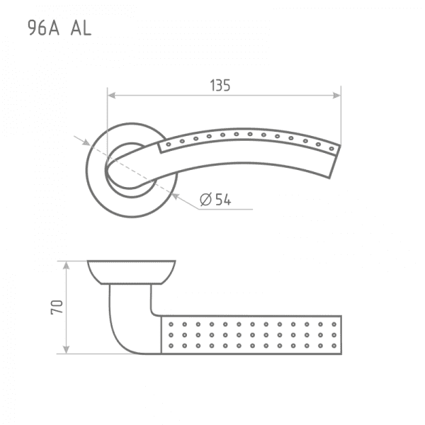 Ручка дверная модель 96 А AL (Матовое золото)