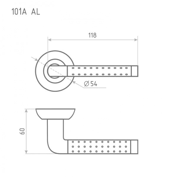 Ручка дверная модель 101 А AL (Хром)