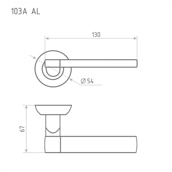 Ручка дверная модель 103 А AL (Хром)