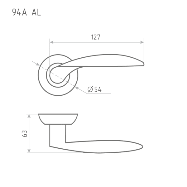 Ручка дверная модель 94 А AL (Матовый хром)