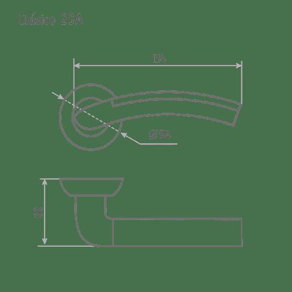 Ручка дверная модель 23 A Clásico (Старая бронза/хром)