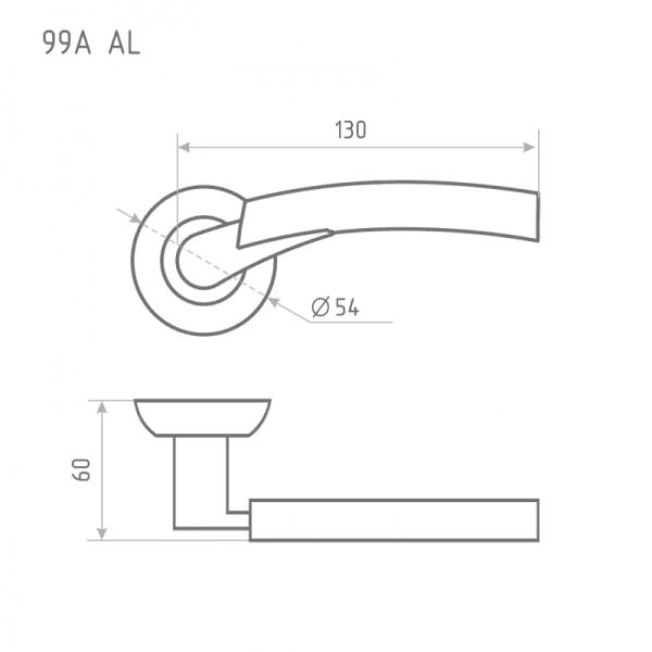 Ручка дверная модель 99 А AL (Матовый хром)