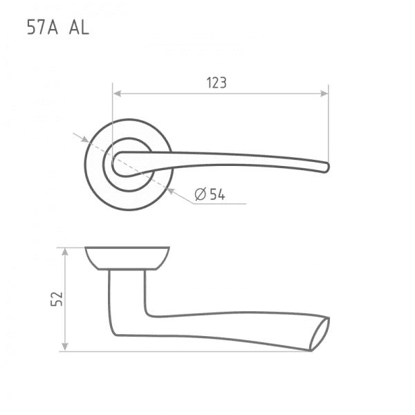 Ручка дверная модель 57 A AL (Старая медь)