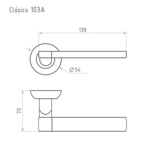 Ручка дверная модель 103 А Clásico (Старая медь)