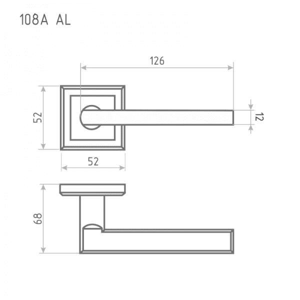 Ручка дверная модель 108 K Al (Старая бронза)