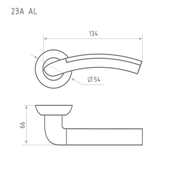 Ручка дверная модель 23 А Al (Хром)