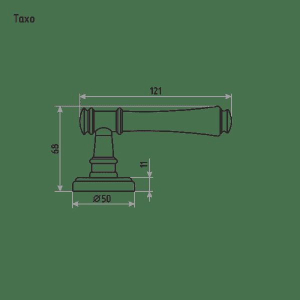 Ручка дверная модель Тахо (Застаренная бронза)
