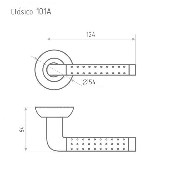 Ручка дверная модель 101 A Clásico (Старая медь)