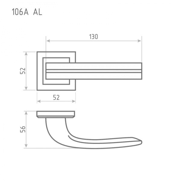 Ручка дверная модель 106 К Al (Старая медь)