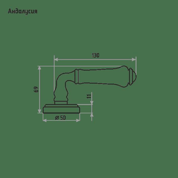 Ручка дверная модель Андалусия (Серый фарфор/Застаренная бронза)