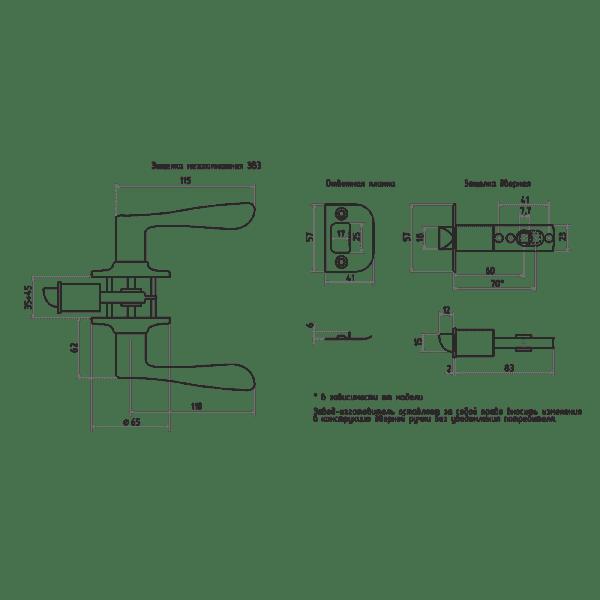 Ручка-защелка модель ЗВ3 (Старая медь)