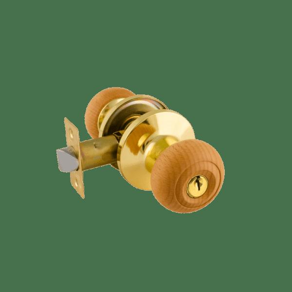 Ручка-защелка модель Н (Дерево-бук/золото)