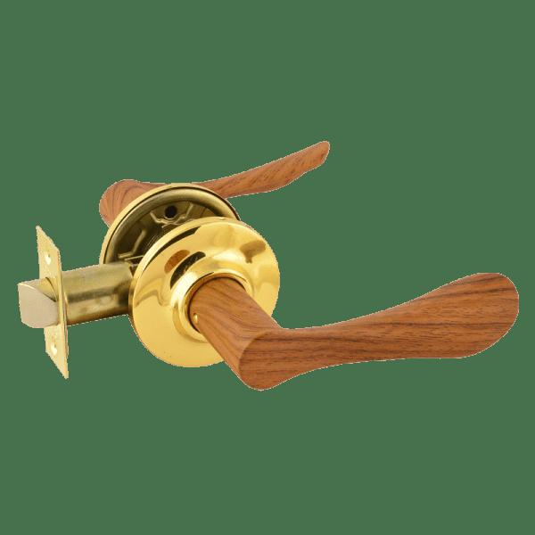 Ручка-защелка модель ЗВ3 (Темное дерево/золото)