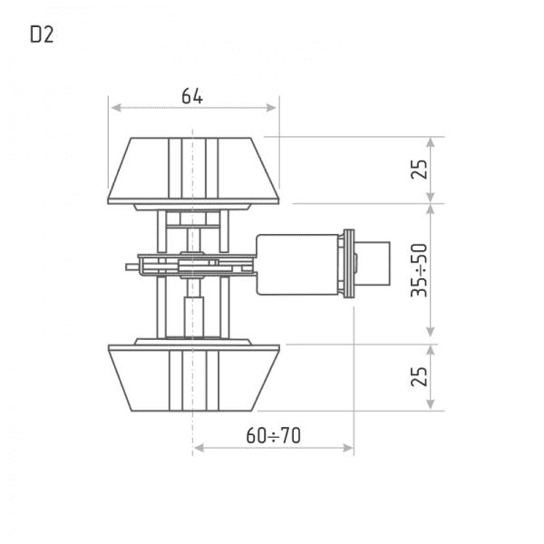 Замок врезной модель D2 (Хром)