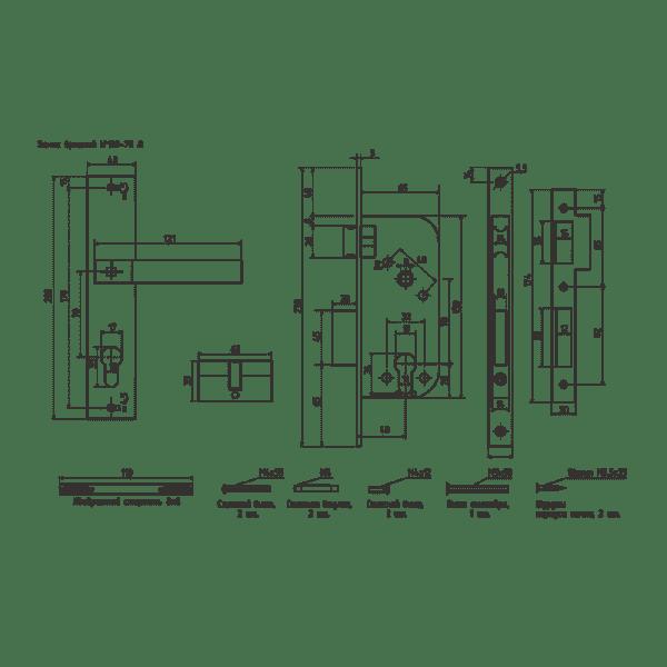 Замок врезной модель 109-70Л (Старая медь)