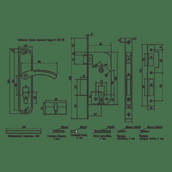 Замок врезной модель 125-70 (Хром)