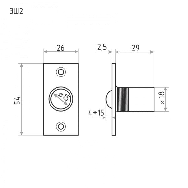 Защелка дверная шариковая модель ЗШ2 (Матовый никель)